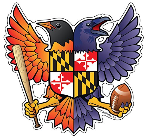 Citizen Pride Birdland Baltimore Raven and Oriole Maryland Crest 4.85x4.75 inches sticker decal die cut vinyl - Made in USA