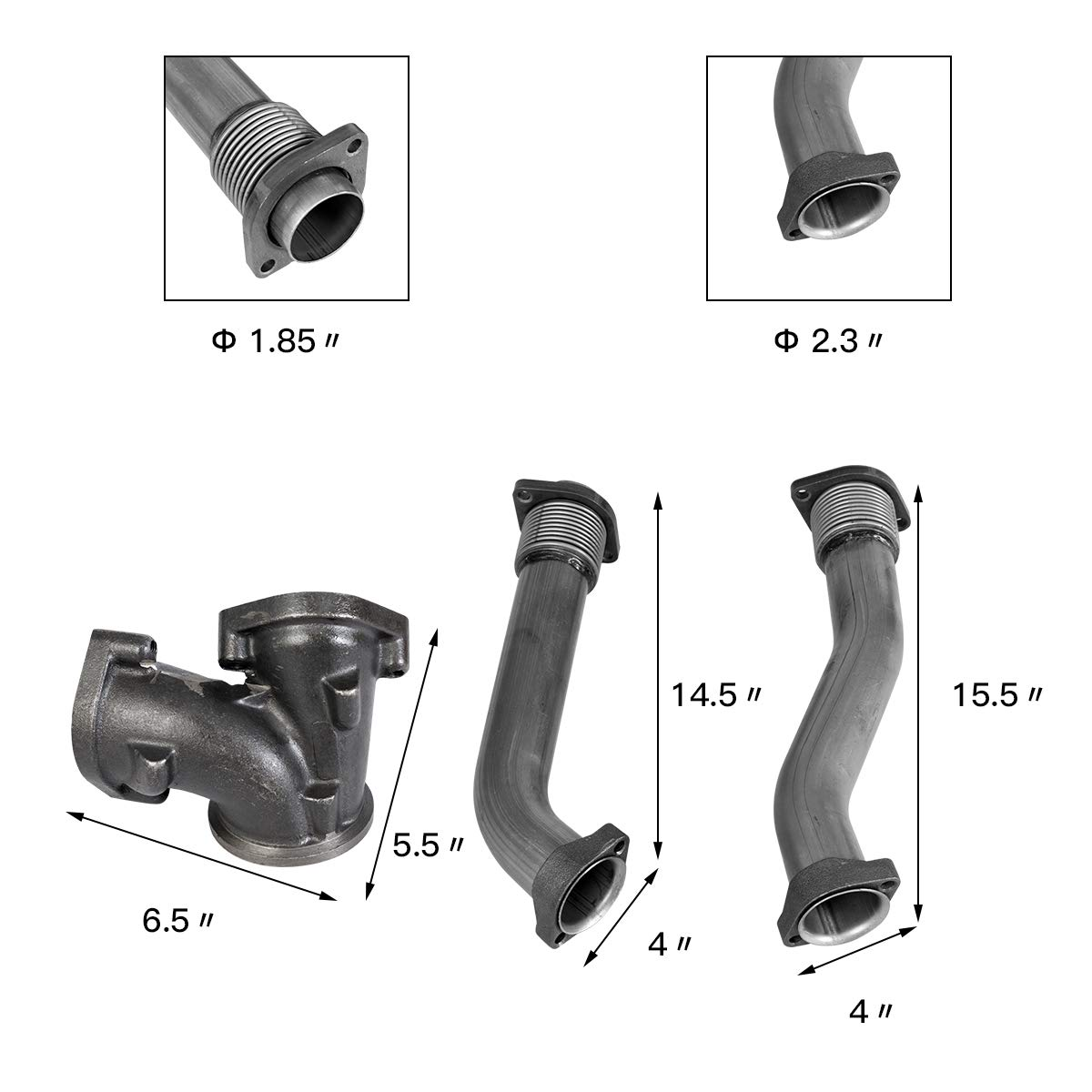 7.3L-V8 Goplus PowerStroke Turbo Diesel w//Hardware Exhaust Manifold Bellowed Up Pipe Kit for 1995-2003 Ford F-350 Stainless Steel Exhaust Up Pipes /& Gaskets