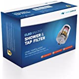 """CLEO SFU 717 Shower & Tap Filter - For 1/2"""" Wall Showers, Hand-held Showers & Taps with 24mm Aerators (Matte Silver & Pearl White)"""