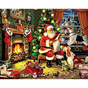 Mrsflosdreamcaming 5D DIY Diamond Painting Kits Santa Claus Present List Cross Stitch with Round Drill Diamond Embroidery Decor Christmas Gifts 40x30cm (Santa Claus Gift House)