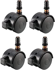 uxcell 1.5 Inch Swivel Caster Wheels Grip Neck Stem Caster Black Furniture Wheel with Brake and Mounting Socket, 4pcs