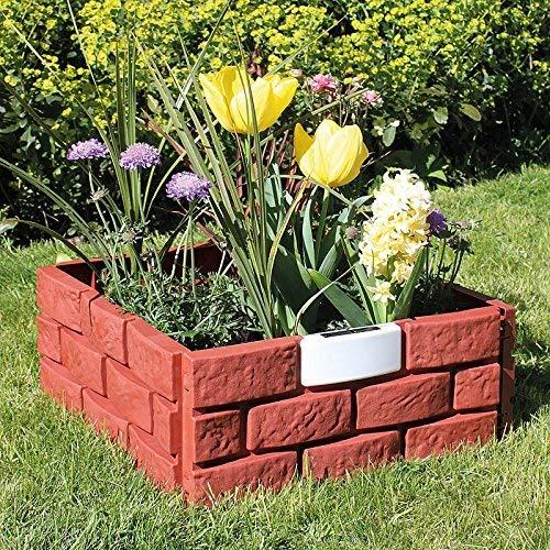 Pacific Giftware Solar Lighted Brick Look Garden Plastic Border Landscape Edging Flowerbed Set of 4 Panel