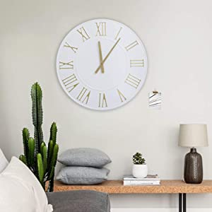 """Hawoo 24"""" Large Decorative Wall Clock, Round Oversized Centurian Roman Numeral Style Modern Home Wall Clocks for Living Room Decor, Metal Clock (White)"""
