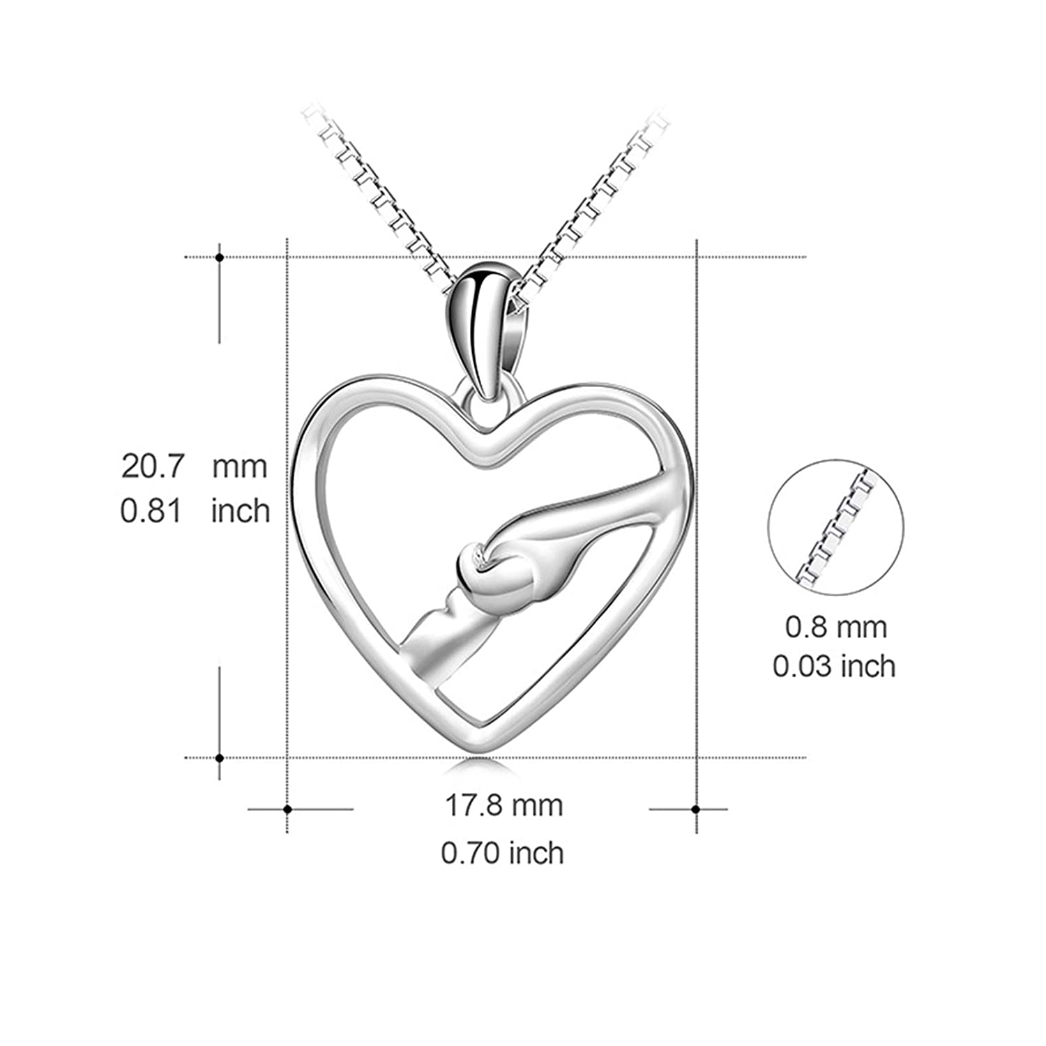 Beydodo Sterling Silver Necklace Heart Bridal Necklace Pearls Hollow Heart Hand in Hand