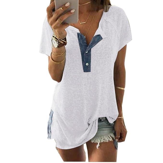 b80c295269e8 KEERADS T-Shirt Damen Sommer Kurzarm V-Ausschnitt mit Knopf Tops Oberteile  Bluse Shirt  Amazon.de  Bekleidung