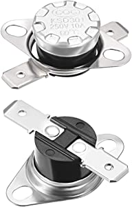 uxcell KSD301 Thermostat 60°C/140°F 10A Normally Open N.0 Adjust Snap Disc Temperature Switch for Microwave,Oven,Coffee Maker,Smoker 2pcs