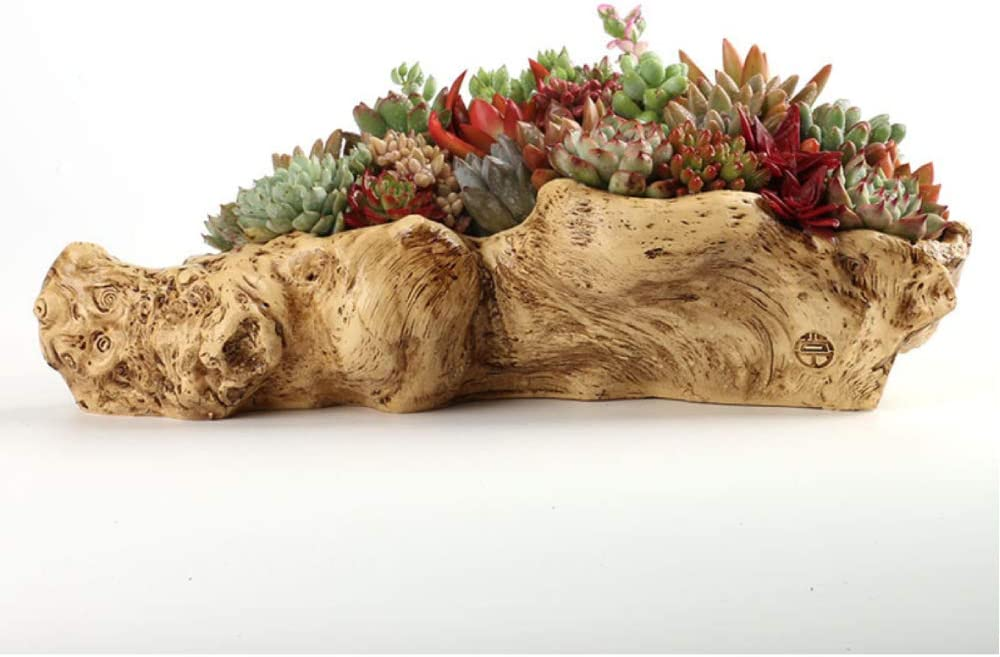 Artificial Driftwood Planter Sculpture Resin Succulent Planter Rustic Cactus Container Flower Pot Driftwood Trunk Stump Log Decorative Planter Pot A
