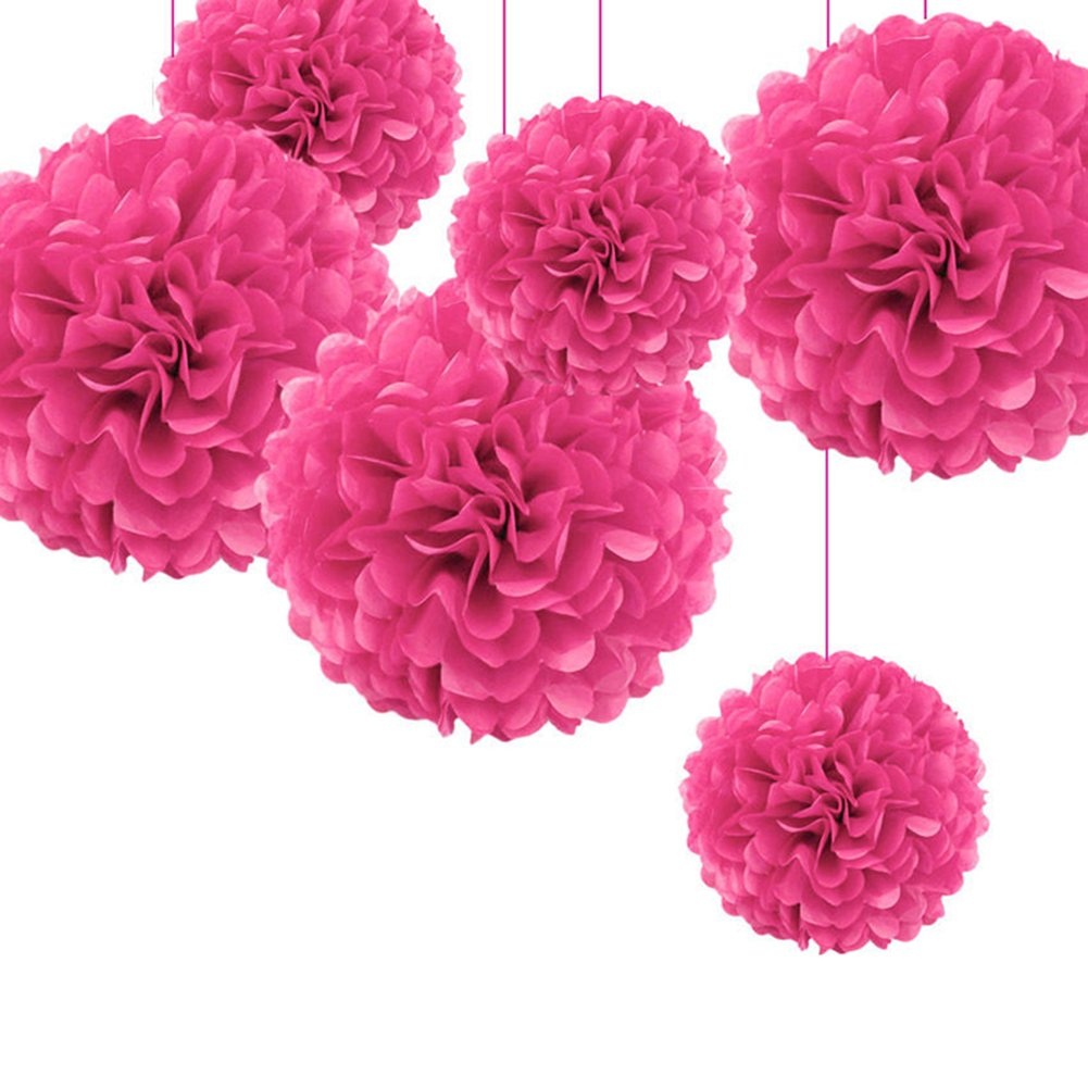 Taloyer 10pcs Popular Europe and America Decorative Paper Flower Ball Pom Hanging Paper Pom-poms for Wedding Party Decoration (rose Red)