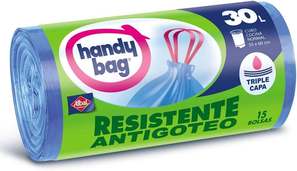 Handy Bag Bolsas de Basura 30L, Extra Resistentes, No Gotean, 15 Bolsas