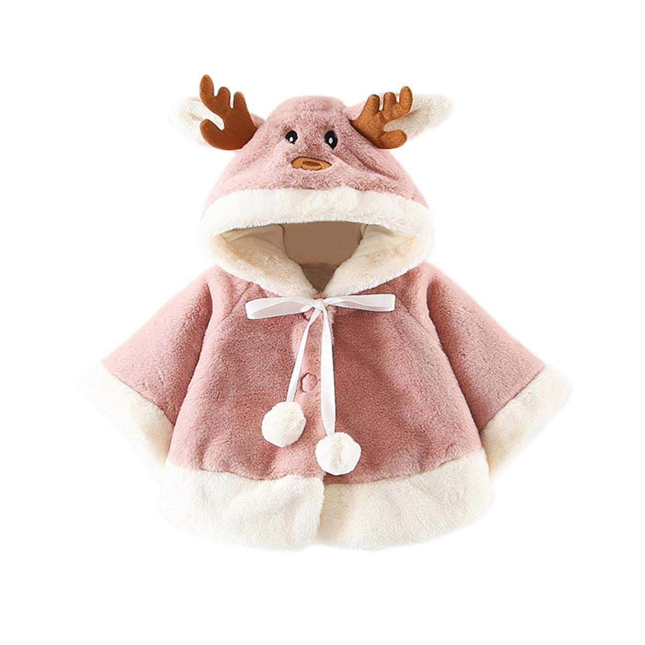 HCFKJ Ropa Bebe Ni/ñA Invierno Ni/ñO Manga Larga Camisetas Beb Conjuntos Moda Navidad Disfraz Ciervo Encapuchado Capa Capa Bata Ni/ñOs Ni/ñAsrajes