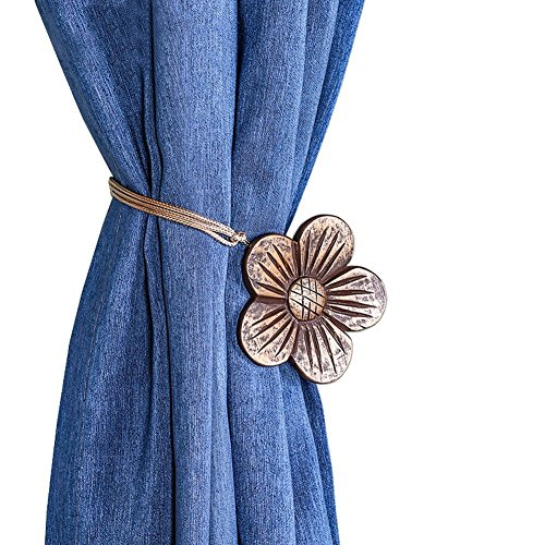 Shinywear Vintage Bronze Flower Curtain Clips Buckle Magnetic Bedroom Decorative Holdback Tiebacks Rope Holders for String Draperys (Rope Carving Set)