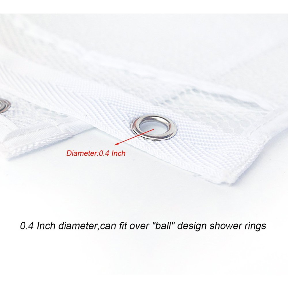 Hisight 2 Pack Quick Dry Hanging Mesh Bath Shower Organizer Shower Curtain with 6 Mesh Pockets and 4 Rings Hang on Rod Liner Hook Bathroom Save Space Bag Shampoo Conditioner Soap Storage (white) by Hisight (Image #4)