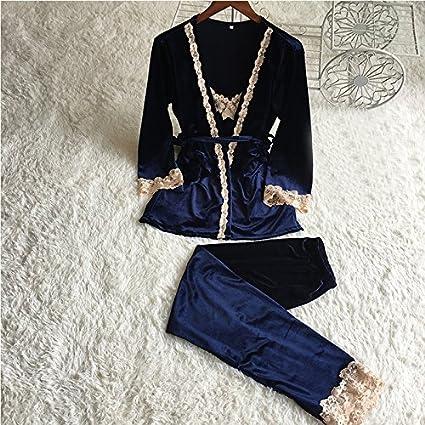 DHG Otoño E Invierno Damas Terciopelo Coreano Pijamas de Tres Piezas Cálidos Pantalones de Arnés de