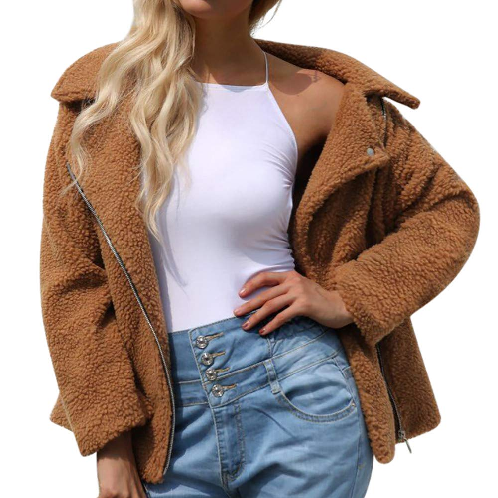 Liraly Womens Sweaters Open Front New Fashion Womens Warm Artificial Wool Coat Zipper Jacket Winter Parka Outerwear Sweater (Brown,US-4 /CN-S)