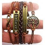 RIUDA Handmade Adjustable Tree For Life Believe Multilayer Bracelet Wristband