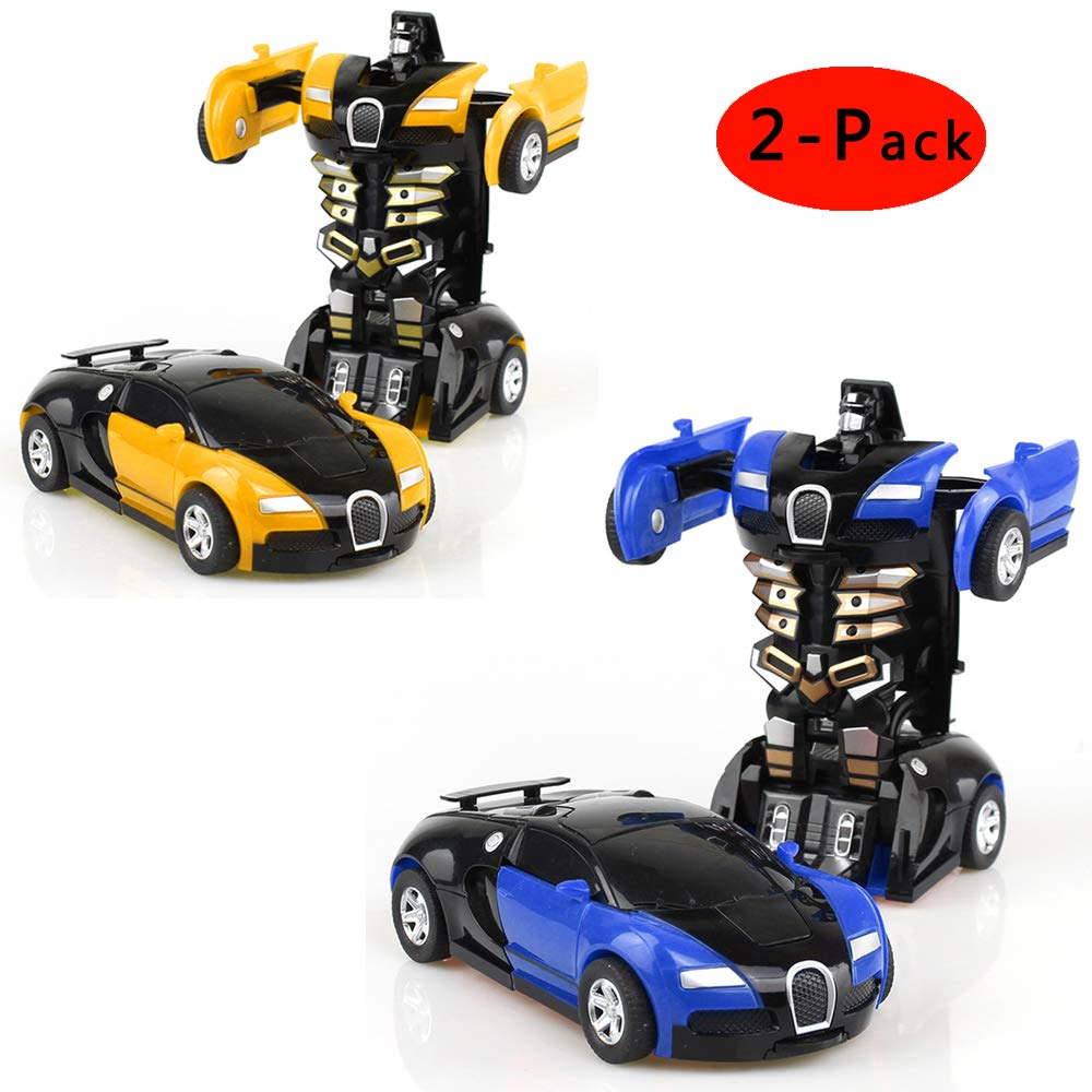 Cartoon Crash Deformation Transforming Robot Car Toy Kids Game Gift Electrical Safety (2pcs, Yellow&Blue)