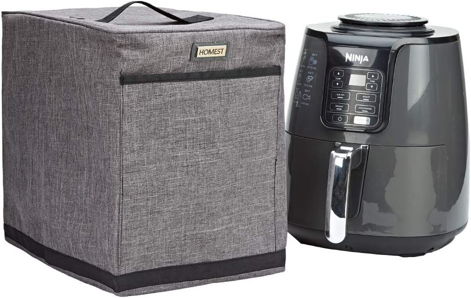 HOMEST Air Fryer Dust Cover with Accessory Pocket Compatible with Ninja Air Fryer 4 Quart, Grey (Patent Pending)
