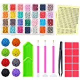 PP OPOUNT 36 Colors Diamond Painting Replacement Square Diamonds with Storage Box and 2 Sheets Color Number Stickers, 16 Pieces Diamonds Painting Tools for Missing Drills of Diamond Cross Stitch
