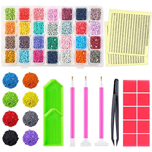 (PP OPOUNT 36 Colors Diamond Painting Replacement Square Diamonds with Storage Box and 2 Sheets Color Number Stickers, 16 Pieces Diamonds Painting Tools for Missing Drills of Diamond Cross Stitch )