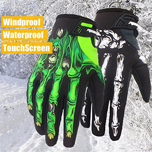 Winter Gloves Skeleton Zombie Bones Design Windproof Waterproof For Riding Biking Climbing Motorcycling Cycling Working Gardening