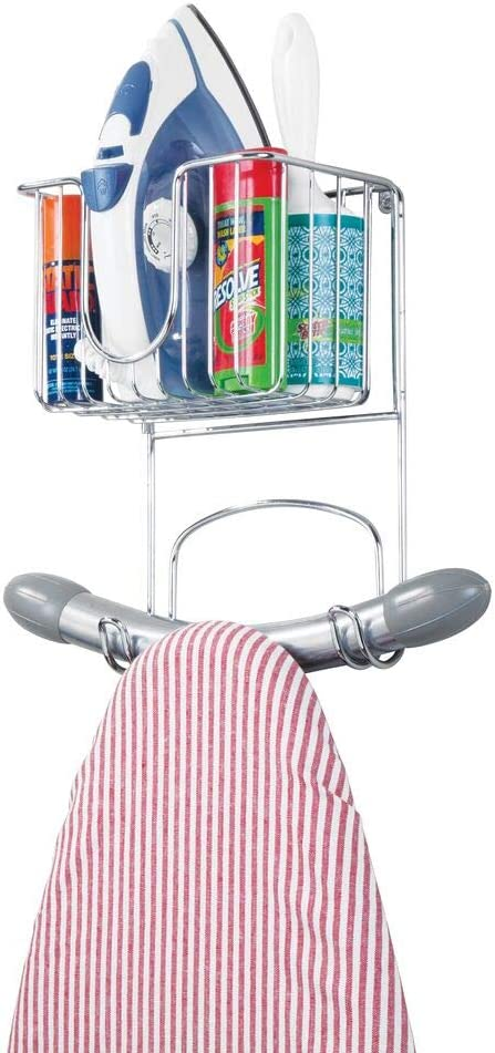 mDesign Wall Mounted Ironing Board Holder – Strong Steel Ironing Board Rack – Practical Ironing Board Holder with Storage Basket – Silver