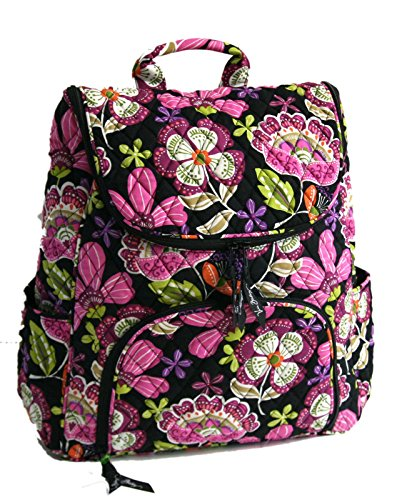 Vera Bradley Double Zip Backpack in Pirouette Pink with Black Interior