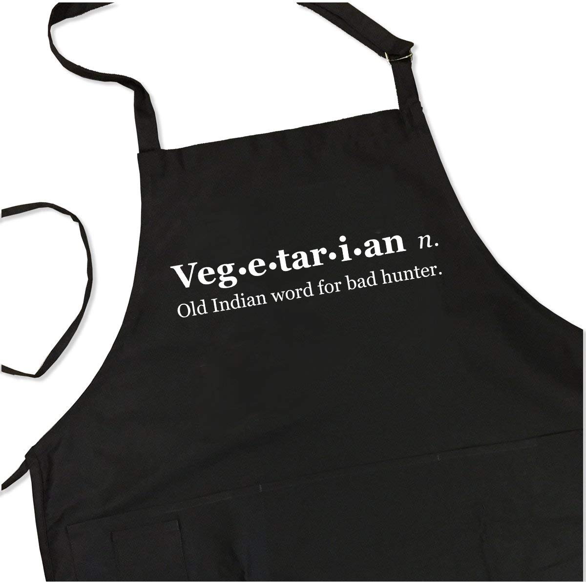 Funny Vegetarian Apron - Old Indian Word for Bad Hunter - BBQ Apron for Dad - 1 Size Fits All Chef Quality Poly/Cotton 4 Utility Pockets, Adjustable Neck and Extra Long Waist Ties