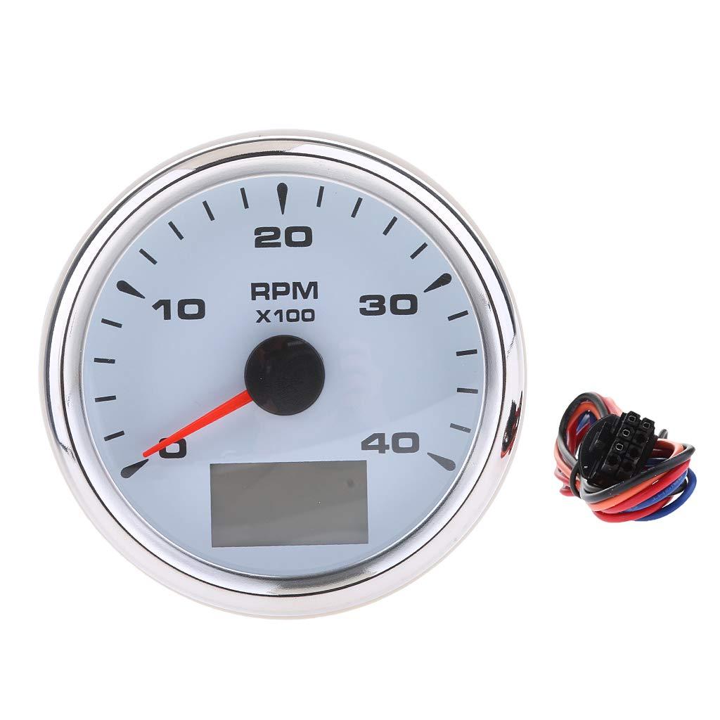 Blanco B Blesiya Indicador Medidor Od/ómetro//Tac/ómetro con Arn/és de Cable Multiusos de Barco 85mm