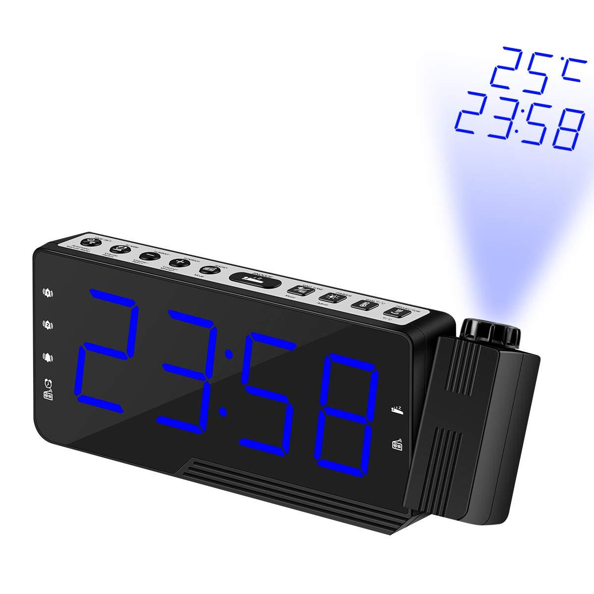 3 Allarme di Temperatura Proiezione con Sveglia Radio Atomic Controlled Projection Alarm Clock w//Data Radio Controllo proiezione Sveglia Settimana retroilluminazione