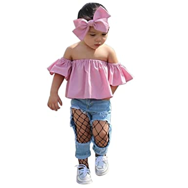 3c970e0e67444 Toddler Kids Baby Girl Summer Off Shoulder Ruffle T-Shirt Tops+Headband  Clothes Outfits