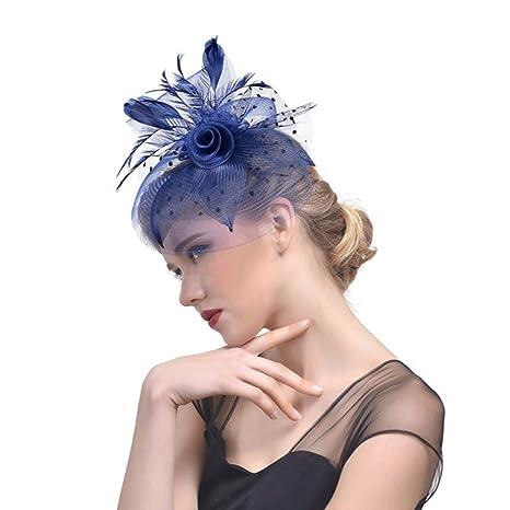 Hongyan Copricapo da Sposa Garza Ornamento per Capelli Cappello Copricapo  Retro Visualizza Cappello da Sposa Accessori 9682a8e698fb