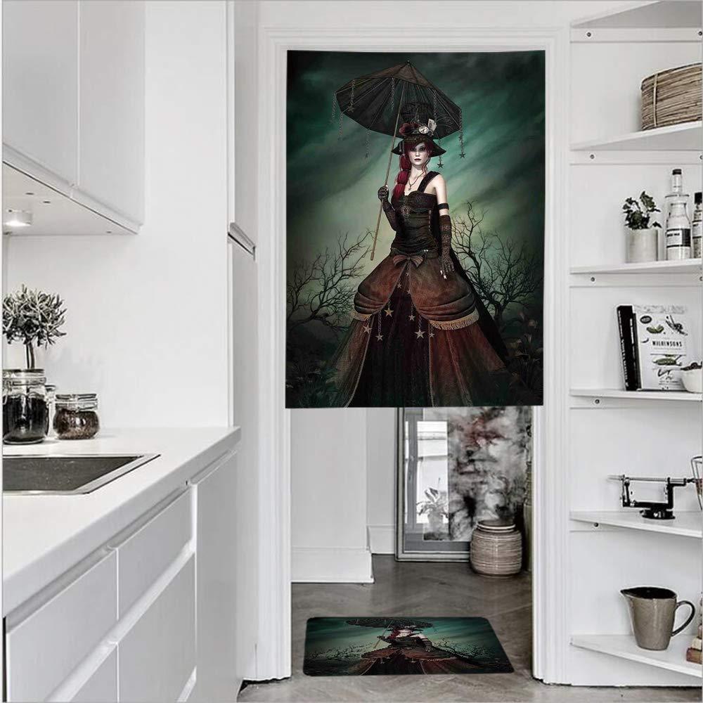 "SCOCICI 3D Printed Linen Textured French 1 Panel Door Curtains 1pcs Doormat Kitchen Mat Rug,Strange Woman in Forest Her Umbrella DarkSingle Panel Door Curtain 35.4"" w 47.2"" h + 1 PCS Doormat 15.7"" h"