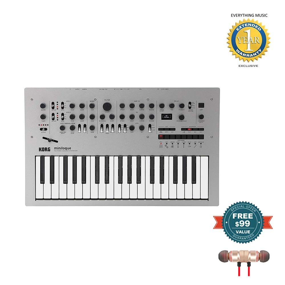 Korg Minilogue 4-Voice Polyphonic Analog Synthesizer includes Free Wireless Earbuds - Stereo Bluetooth In-ear and 1 Year Everything Music Extended Warranty by Korg