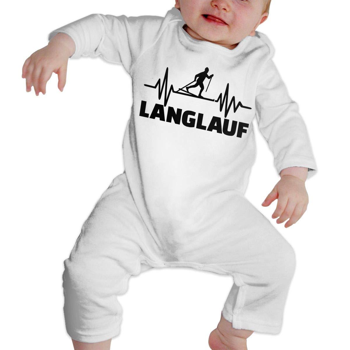 Skiing Heartbeat Toddler Baby Long Sleeve Bodysuit Bodysuits