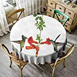 lavender trumpet vine ScottDecor Food Round Tablecloth Hummingbirds Decor,Two Hummingbirds Sip Nectar from a Trumpet Vine Blossoms Summertime, Jacquard Tablecloth Diameter 70""