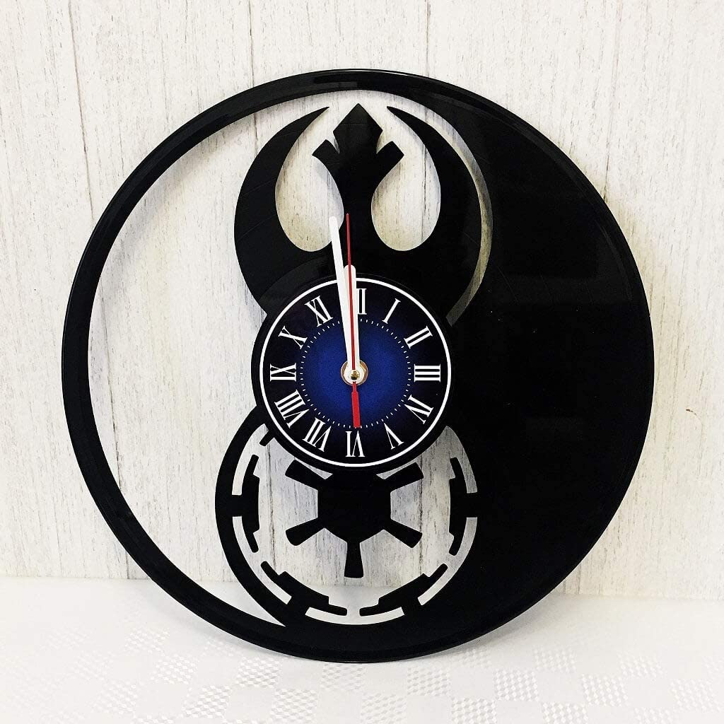 Star Wars 12 inches / 30 cm Vinyl Record Wall Clock   Galactic Empire   Rebellion   Gift for Geeks, Teens, Boys and Girls   George Lucas Merchandise