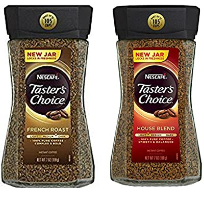 Nescafe Tasters Choice Instant Coffee Bundle Featuring a Jar Each of Tasters Choice French Roast Instant Coffee and Tasters Choice House Blend Instant Coffee