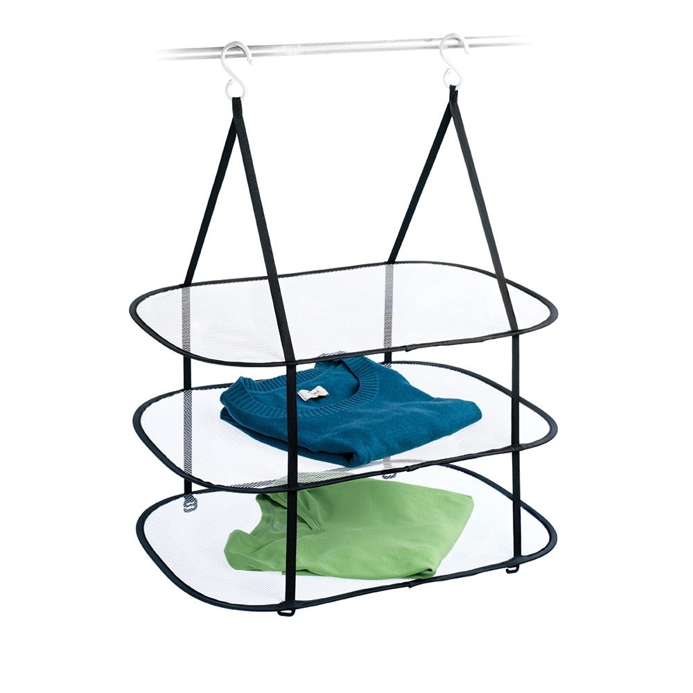 Amazon.com: Homz Sweater/Delicates/Swimsuit Dryer, Surface, Black, Set of 12 Hanging 3 Tier Drying Rack: Home & Kitchen