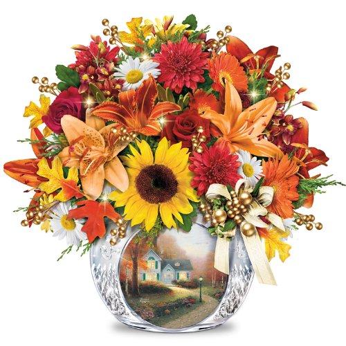 Always in Bloom Lighted Centerpiece: Thomas Kinkade Autumn's Golden Glow by The Bradford Exchange (Thomas Christmas Kinkade Flowers)