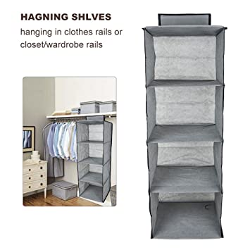 TopHomer Wardrobe Hanging Storage Shelves 4 Shelf Coat Sweater Clothes  Garment Closet Organiser Space Saving Bags