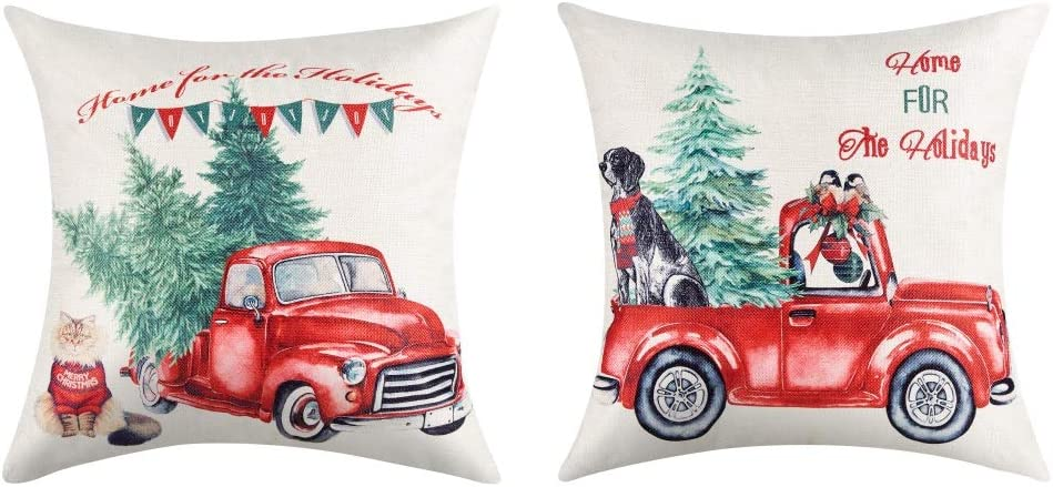 Amazon Com Lanpn 16x16 Christmas Throw Pillow Covers Set Of 2 Decorative Farmhouse Outdoor Merry Christmas Xmas Cushion Pillow Shams Cover Cases With Red Truck And Tree Dog Cat For Couch Sofa Home