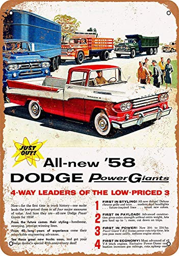 Tisigns Vintage Metal Tin Sign 1958 Dodge Pickup Trucks 8 x 12 Inches Retro Poster