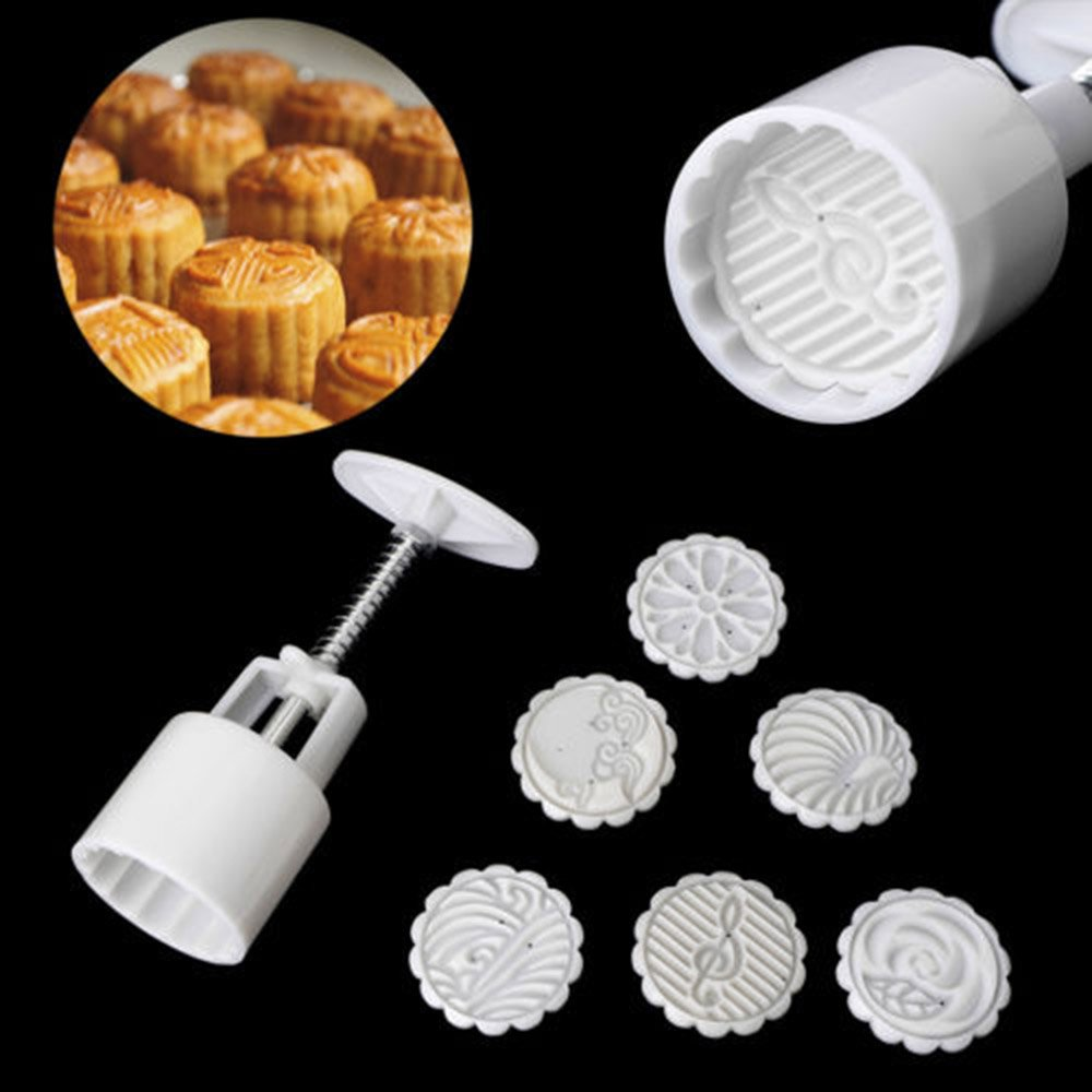 EORTA 3D Mooncake Mold with 6 Stamps Flower Cookie Press 50g Round Cake Cutter Baking Severing Tools for Mid Autumn Festival, DIY Handmade Decoration, White