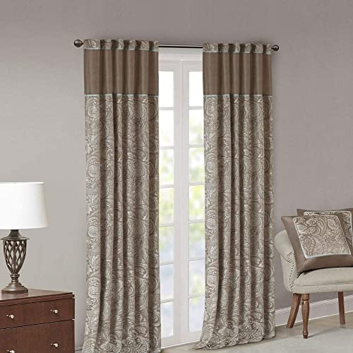 Madison Park Aubrey Rod Pocket Curtain Panel Pair Brown