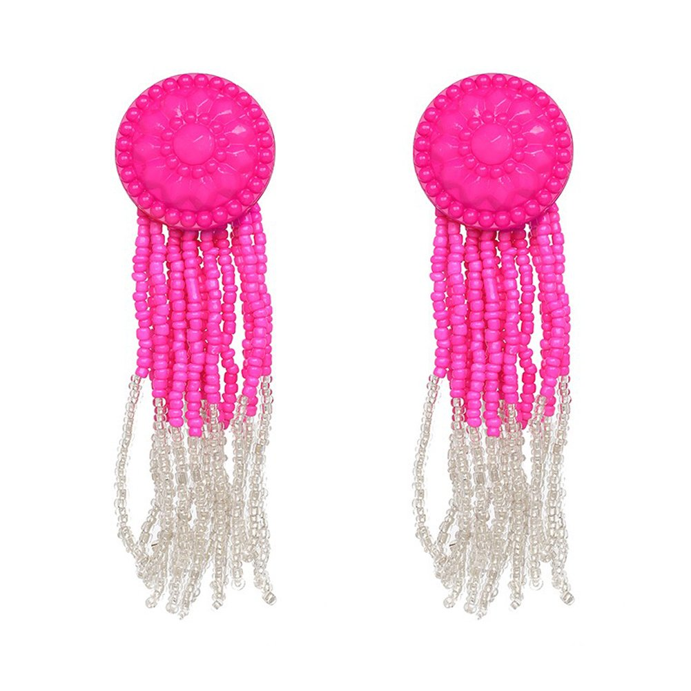 KissYan Bohemian Beaded Tassel Dangle Earrings Long Fringe Multi Color Drop Statement Earrings Handmade Jewelry For Women Girls(Button Tessel Pink)