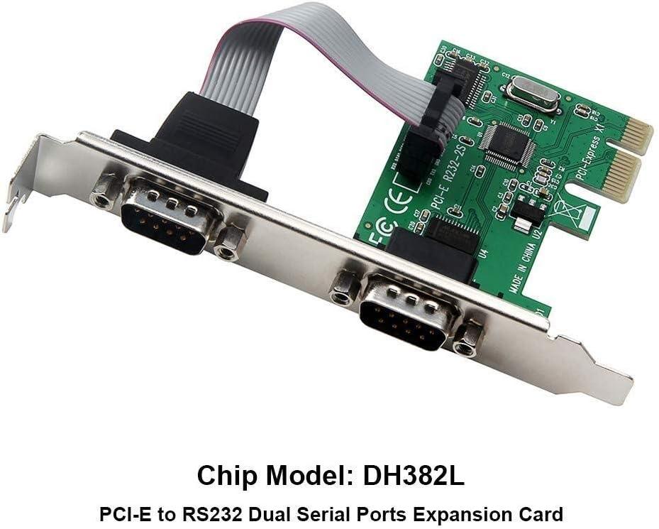 YuandCheng Piezas electrónicas pequeñas Tarjeta de expansión PCI E a RS232 Adaptador COM de Interfaz de Puertos Serie Doble for computadora PC Destop Gadget práctico: Amazon.es: Hogar