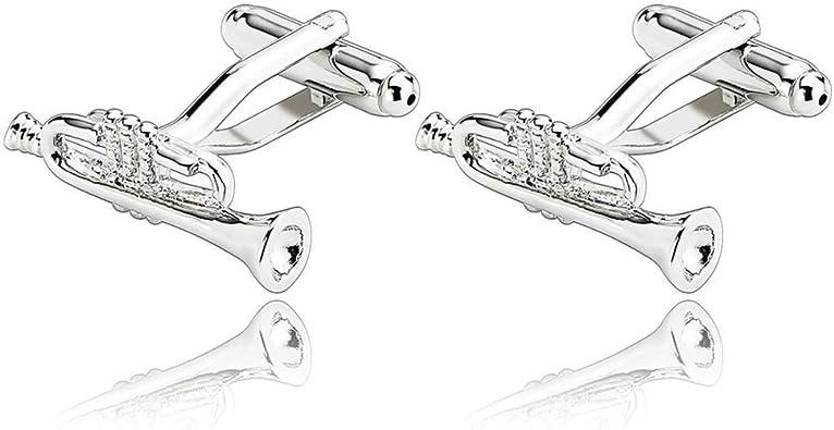 Daesar 2 Piezas Gemelos Hombre Rodio Plateado Plata Trompeta Jazz Música Camisa Alianzas de Boda: Amazon.es: Joyería