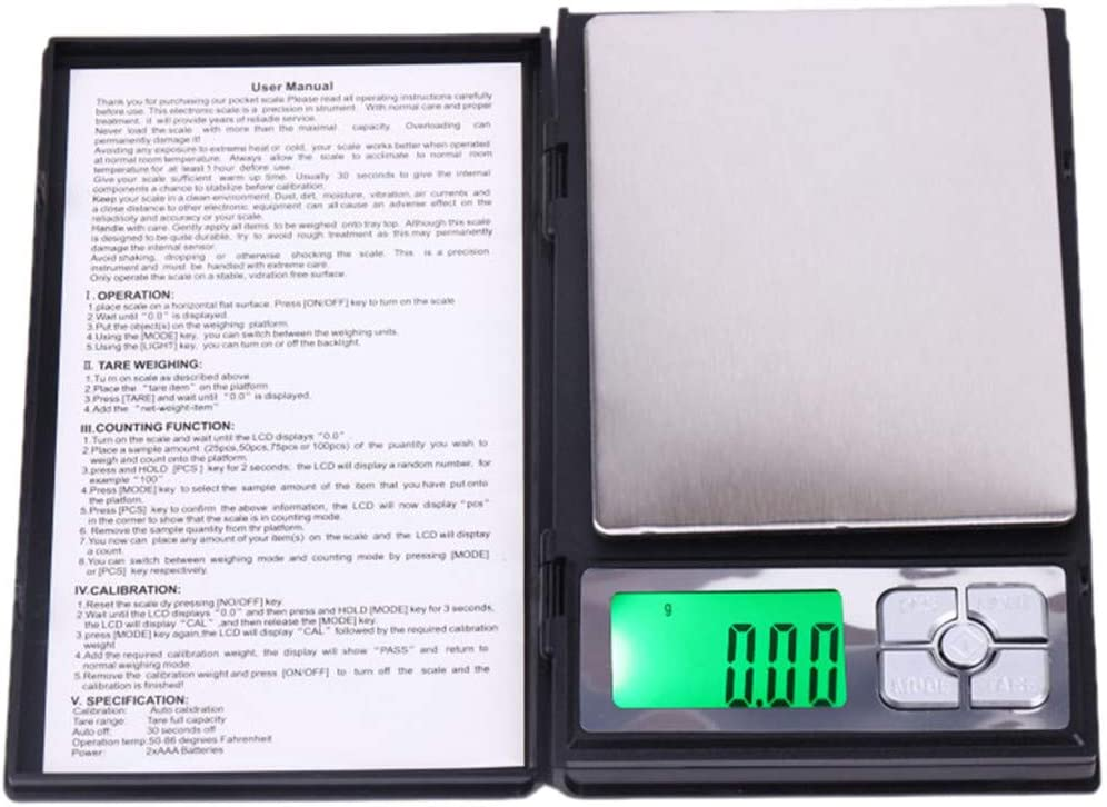 Freeby 0.01 Gram Precision Jewelry Electronic Digital Scale Balance Weight Pocket Scale LCD Display with Back-Light 500g
