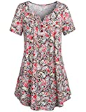 #3: SeSe Code Women's Crewneck Button-up Ruched Short Sleeve Tunic Shirt