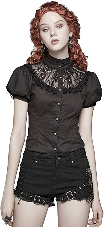 Futuristic Clothing Steampunk Top Women Silver Black Top Party Blouse Plus Size Blouse Shiny Blouse Sci Fi Clothing Grunge Top